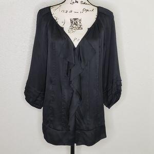 Diane Von Fursterberg Black Silk Blouse Size 14